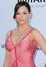 Rose McGowan added pretty bubblegum pink lipstick to her look for the amfAR Gala.