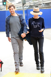 Diane Kruger kept her look casual but adorable with this navy top with a precious outline of a bull terrier.