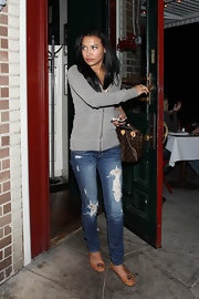 Naya Rivera dressed up distressed skinny jeans with nude Michael Kors flats, a far chicer alternative to flip flops.