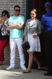 Dianna Agron looked pretty and summery in this eyelet white frock.