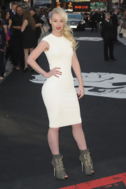 Iggy Azalea's gray lace-up boots were a fierce contrast to her simple dress.