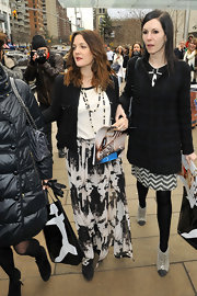 Drew Barrymore looked hippie-chic in a long flowy skirt during New York Fashion Week.
