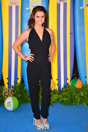 Maia Mitchell chose a black halter jumpsuit for the UK screening of 'Teen Beach Movie.'