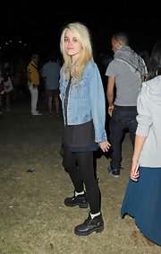 Sky Ferreira stepped out at the Coachella Music Festival wearing a pair of clunky black ankle boots.