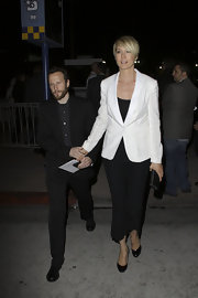 Jenna Elfman paired a fitted white jacket with her black ensemble while out in Westwood.