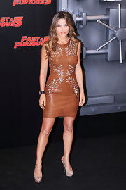 Elsa donned a brown leather dress with unique cut outs for the 'Fast and Furious 5' premiere in Spain.