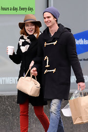 Emma Stone wore a floppy fedora while out and about in NYC with her beau, Andrew Garfield.