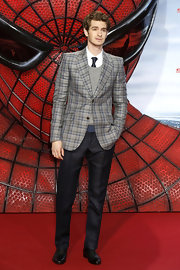 Andrew Garfield looked particularly dapper in this plaid blazer at the 'Spider-Man' premiere in Berlin.