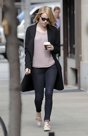 Emma Stone stepped out in NYC wearing a pair of pale pink lace-up shoes.