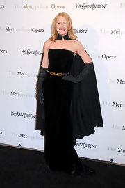 Patricia Clarkson looked divine in this strapless velvet number at the Metropolitan Opera's premiere of 'Manon' in NYC.