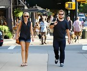 Julia Carey embodied New York style so well in a pair of casual denim cut-offs as she took her boyfriend around West Village.
