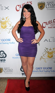 Angelina Pivarnick looked seductive in a ruched purple mini dress at Maksim Chmerkovskiy's birthday bash.