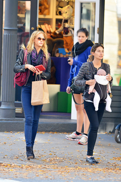 Models Lily Aldridge and Erin Heatherton shop at Marc Jacobs kids with baby Dixie