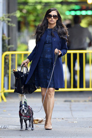 Famke Janssen looked a little too stylish in a blue wool coat layered over a print dress as she took her dog for a walk.