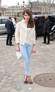 Caroline Sieber looked ultra-feminine in a ladylike tweed coat and baby blue skinny jeans.