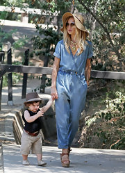 Rachel dressed for downtime in high fashion with this incredibly stylish denim jumpsuit.