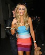 Maria Fowler looked bold and sexy in a colorful bandage dress while out clubbing in London.