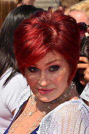 Sharon Osbourne arrived at the 'X Factor' auditions with dark smokey eyes and pink lips.