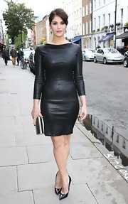 Gemma Arterton chose a sexy black leather dress to show off her curves!