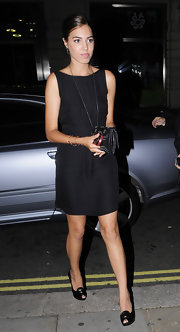 Amber Le Bon partnered her little black dress with black peep-toes at a dinner hosted by Georgio Armani at the Georges Restaurant.