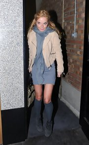 Geri Halliwell went out for an evening in London wearing a pair of black suede lace-up ankle boots.
