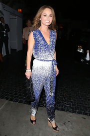 Giada sported a blue and white patterned jumpsuit while out at Chateau Marmont.