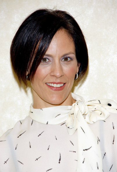 Annabeth Gish attended the Feminist Majority Foundation event wearing her hair in a short bob.