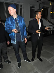 Professor Green wore an eye-catching iridescent blue track jacket during the 'Made in Chelsea' cast party.