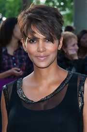 Halle Berry rocked her signature short crop with a long, edgy pixie cut.