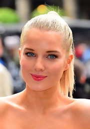 Helen Flanagan wore false eyelashes to a PETA event in London.