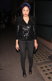 Ana Araujo completed her biker-chic ensemble with a pair of black cutout boots.
