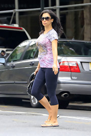 Hilaria sported navy leggings while hitting the streets in NYC.