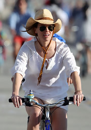Hilary Swank let her inner cowgirl come out during a bike ride in Venice Beach when she donned a funky straw cowboy hat.