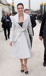 Ines Sastre looked Parisian chic with this light gray wool coat.