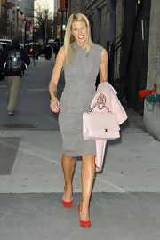 Beth Stern looked chic in a gray textured sheath dress while out in NYC.