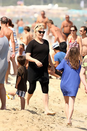 Hugh Jackman's wife wore a pair of classic cat-eye sunglasses while on the beach at Club 55.