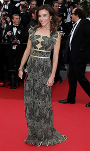 Elodie went for a unique look in a scalloped black and white print evening gown for the Cannes Film Festival.