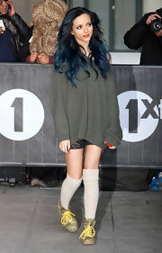 Jade Thirlwall sported an over-sized, off-the-shoulder sweater while heading to the BBC Radio Studios.