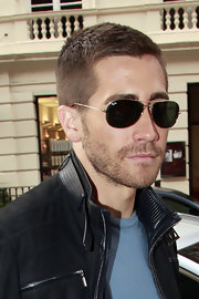 Jake donned a classic pair of aviator shades while on a promotional tour in London.
