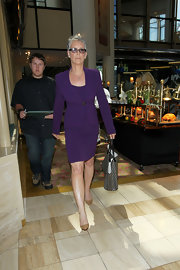 This royal purple suit dress was buttoned-up perfection on Jamie Lee Curtis.
