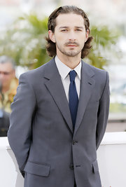 Shia LaBeouf matched a classic solid blue tie with his gray suit for the premiere of 'Lawless.'