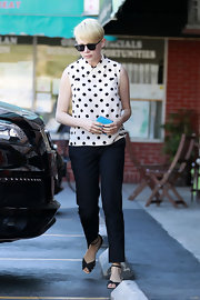Michelle Williams looked like a doll, dressing up her polka dots with darling peep toe sandals.