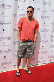 Mark Saling chose a coral V-neck tee for his casual red carpet look at the opening of the Marquee Dayclub in Las Vegas.