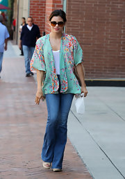 Jenna Dewan-Tatum looked whimsical while out in Beverly Hills wearing this floral mint kimono top.