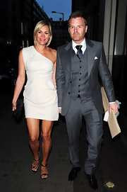 Jenni Falconer sported a simple-yet-stylish one shoulder dress for a night out on the town with husband James.