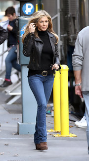Jennifer wears a leather jacket and turtleneck while out in New York.