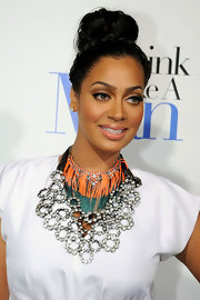 La La Anthony glammed up her simple dress with an elaborate diamond bib necklace when she attended the premiere of 'Think Like a Man.'