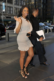 Jennifer Hudson was hot in the city in nude patent sandals with black laces.