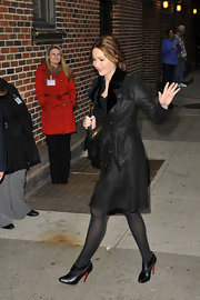 "Jennifer Lawrence stopped by David Letterman's studio wearing a pair of Christian Louboutin ""Miss Zorra"" ankle boots."