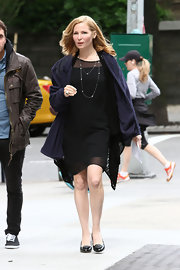 Jennifer Westfelf chose a simple black dress for her look while filming 'Girls.'